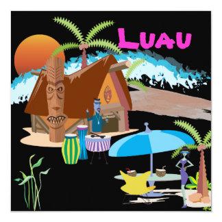 "Tiki/Luau at sunset 5.25"" Square Invitation Card"