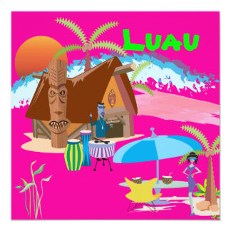Tiki/Luau at the beach 13 Cm X 13 Cm Square Invitation Card