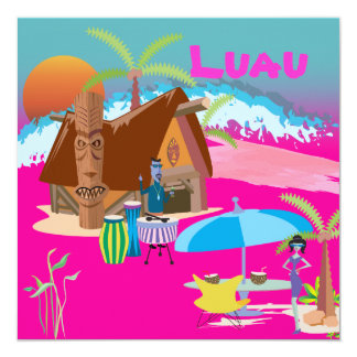 Tiki/Luau at the beach Card