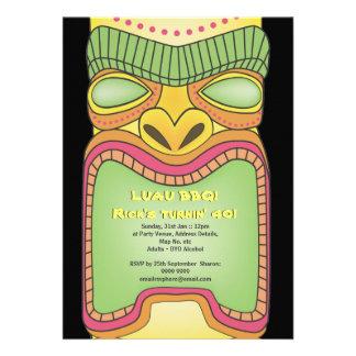 Tiki Luau Hawaiian Tropical Theme Beach Party Personalized Invitation