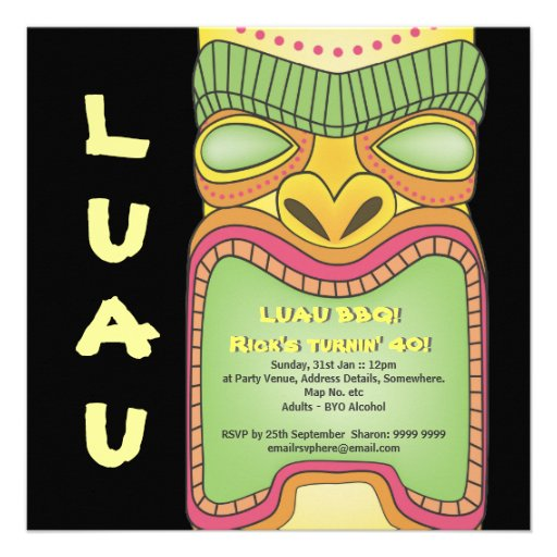 Tiki Luau Hawaiian Tropical Theme Beach Party Invites