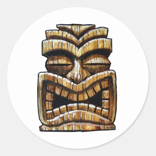 Tiki Man Round Sticker