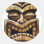 Tiki Man Round Stickers