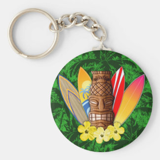 Tiki Mask And Surfboards Basic Round Button Key Ring