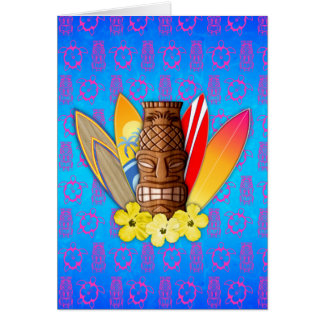 Tiki Mask And Surfboards Card