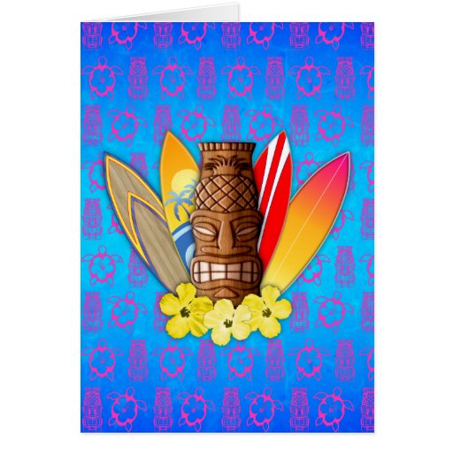 Tiki Mask And Surfboards Greeting Cards