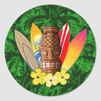 Tiki Mask And Surfboards Classic Round Sticker