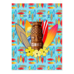 Tiki Mask And Surfboards Postcards