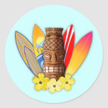Tiki Mask And Surfboards Round Stickers
