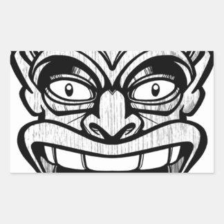 tiki mask hawaiian art rectangular sticker
