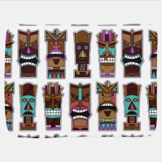 Tiki Mask Pattern Baby Blanket