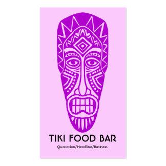 Tiki Mask - Purple on FFCCFF Business Card Template