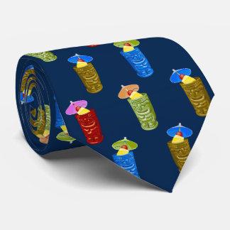 Tiki Mugs Tropical Cocktail Navy Single-sided Tie