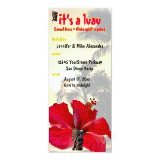 """Tiki Palm Tree Luau Party 4"""" X 9.25"""" Invitation Card"""