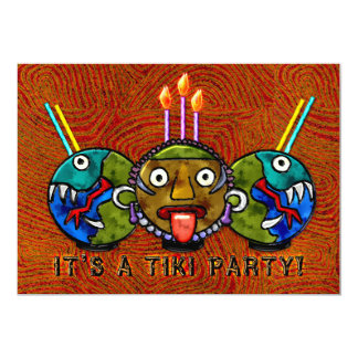 Tiki Party (2-Sided Invitation) 13 Cm X 18 Cm Invitation Card
