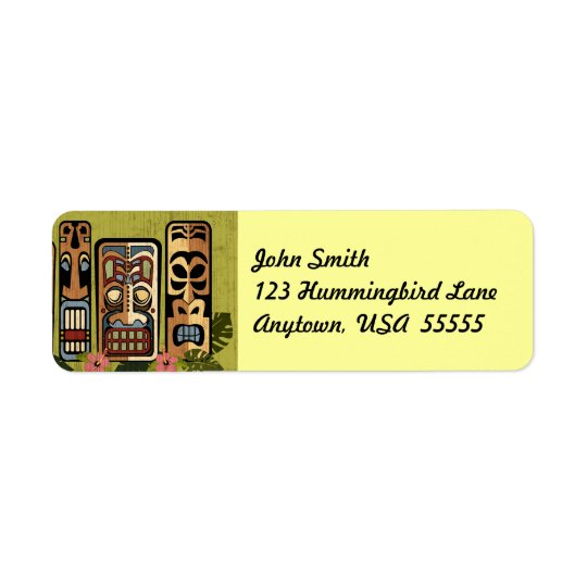 Tiki Party Label Return Address Label
