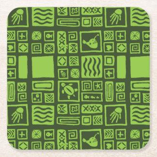 Tiki Pattern Square Paper Coaster
