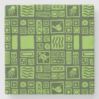 Tiki Pattern Stone Coaster