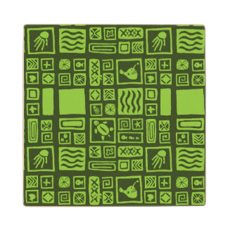 Tiki Pattern Wood Coaster