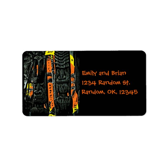 Tiki statue sunrise address labels