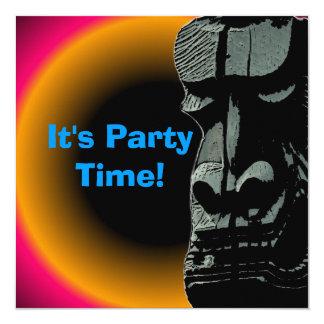 Tiki statue sunset customizable party invitations