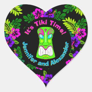Tiki Time Heart Shaped Sticker