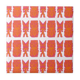 Tiki Time in Orange Small Square Tile