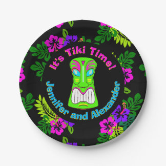 """Tiki Time"" Island Theme Couple's Shower 7 Inch Paper Plate"