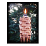 Tiki Torch - Bamboo Outdoor Torch with Flame Post Card