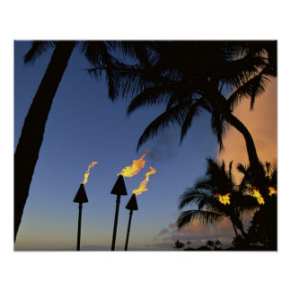 Tiki Torches Hawaii Poster