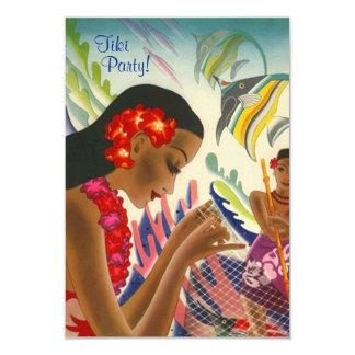"Tiki Tropical Lei Hawaiian Luau party INVITATON 3.5"" X 5"" Invitation Card"