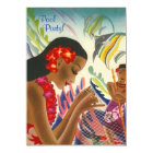Tiki Tropical Lei Hawaiian Pool party INVITATON Card