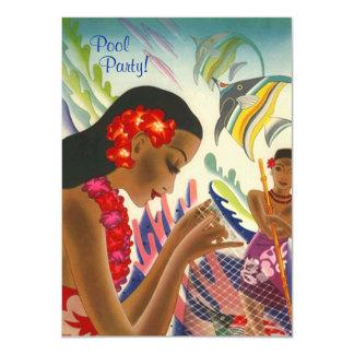 Tiki Tropical Lei Hawaiian Pool party INVITATON Card