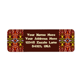Tiki Zebra Stripe Brown Pattern Totem Pole Return Address Label