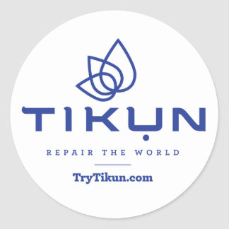 Tikun Blue On White Sticker