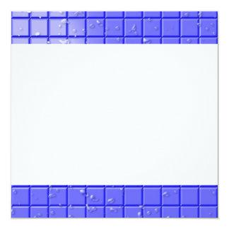 """[TIL-BLU-1] Blue shower tile 5.25"""" Square Invitation Card"""