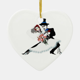 'Til Death Do Us Part - Day of the Dead wedding Ceramic Heart Decoration
