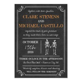 Til Death Halloween Skeleton Orange Black Wedding Card