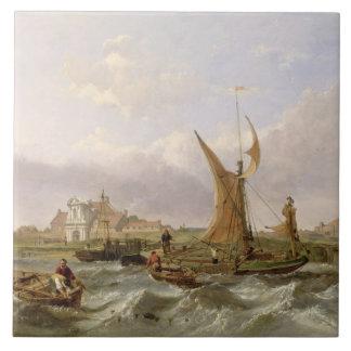 Tilbury Fort - Wind Against the Tide, 1853 (oil on Tile