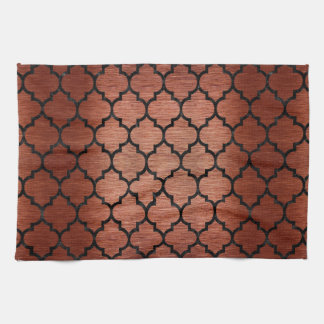 TILE1 BLACK MARBLE & COPPER BRUSHED METAL (R) TEA TOWEL