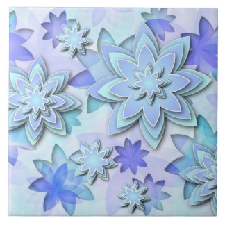 Tile abstract lotus flowers