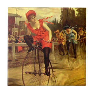Tile Antique Womens Bike bicycle race racing