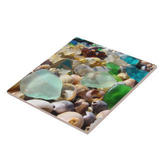 Tile Art Blue Green Beach Seaglass Agates Shells