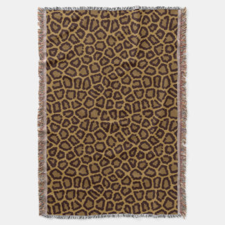 Tile background with a leopard fur throw blanket