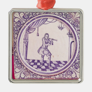 Tile depicting a clarinetist, 1706 christmas ornament