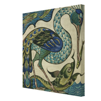 Tile design of heron and fish, by Walter Crane Canvas Print