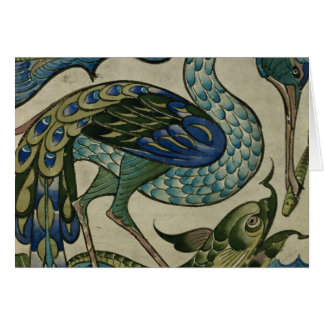 Tile design of heron and fish, by Walter Crane Card