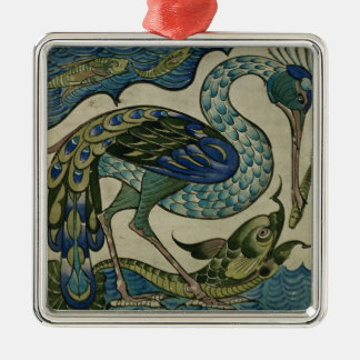 Tile design of heron and fish, by Walter Crane Christmas Ornament