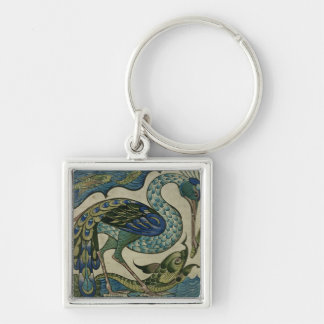 Tile design of heron and fish, by Walter Crane Silver-Colored Square Key Ring