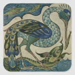 Tile design of heron and fish, by Walter Crane Square Sticker